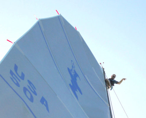 Sturbe sailing on the boat Abracadabra