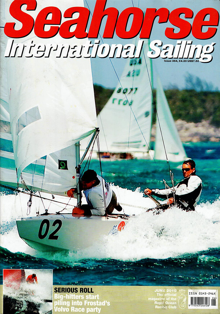 seahorse international sailing magazine cover featuring two men sailing a boat